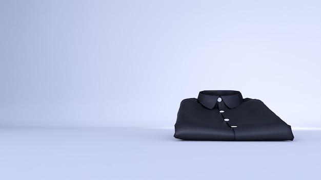 Leeres schwarzes hemd lokalisiert auf weißem raum, 3d-rendering