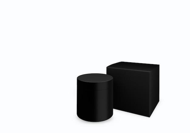 Leeres schwarzes, mattes kosmetikglas auf weißem hintergrund mit abstrichcreme im vorderansichtswinkel, 3d-darstellung
