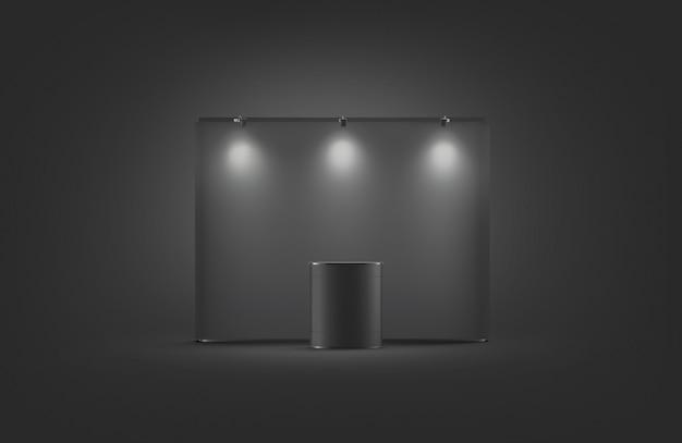 Leeres schwarzes messestand-modell, auf dunklem hintergrund, 3d-rendering.
