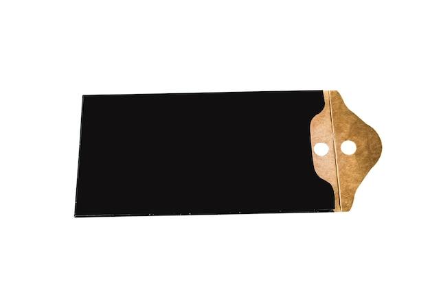 Leeres schwarzes papierpreisschild. label-symbol mit schnur.