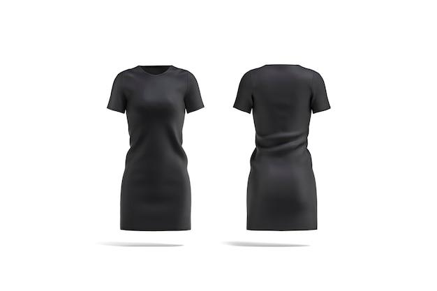 Leeres schwarzes stoffkleid, vorder- und rückansicht, 3d-rendering. leere lange grundstrickwaren für mädchen-outfit, isoliert. klare mode elegante kleidung für frauen.