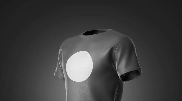 Leeres schwarzes t-shirt mit weißem runden etikettenmodell auf dunklem hintergrund