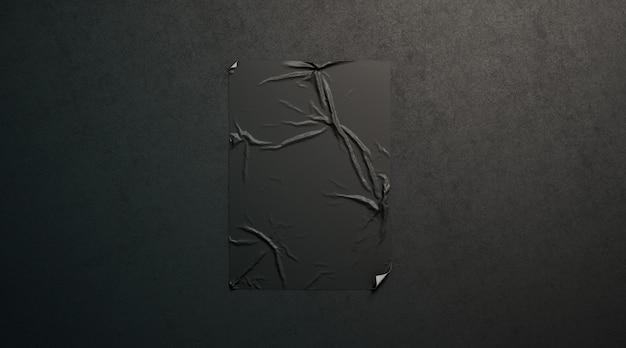 Leeres schwarzes weizenpasten-klebeplakat auf dunkler strukturierter wand