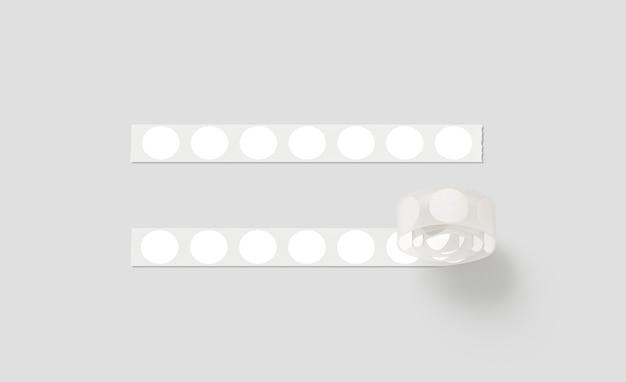 Leeres silbernes klebeband mit weißen runden aufklebern, isoliert