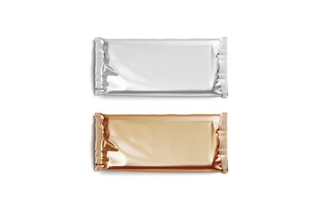 Leeres silbernes und goldenes schokoladentafel-folienverpackungsmodell leeres rechteckiges schokoladenblock-wrapper-modell