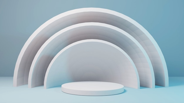 Leeres sockelmodell der zylinderstufe für produkt mit 3d-rendering des abstrakten kreises des blauen hintergrunds