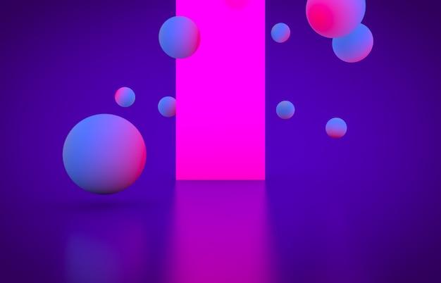 Leeres stadium der futuristischen geometrischen form mit glühender neonfarbe.