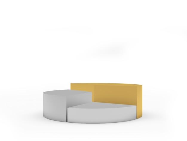 Leeres tortendiagramm aus gold und silber aus drei segmenten