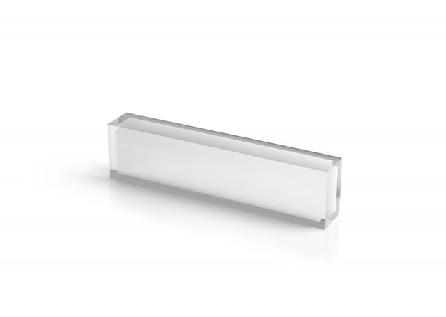Leeres transparentes glasschreibtischblockmodell