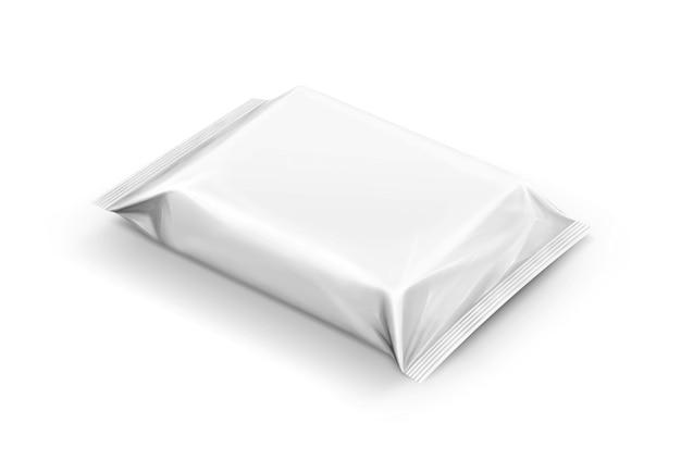 Leeres verpackungspapier wischt den lokalisierten beutel ab
