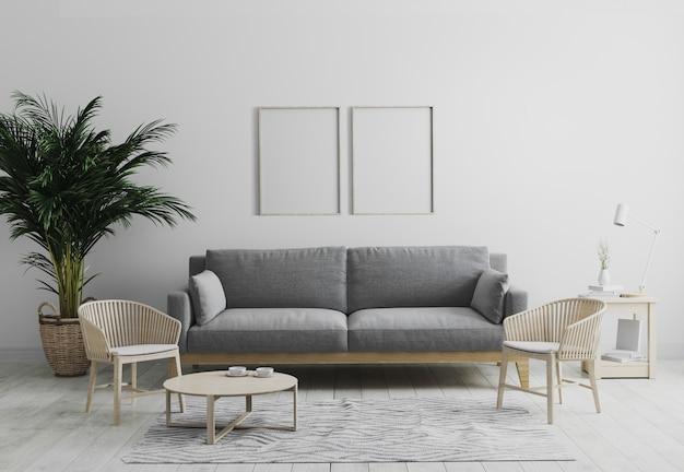 Leeres vertikales hölzernes bilderrahmenmodell im modernen innenwohnzimmer in grautönen mit grauem sofa und hölzernem sessel, palme und couchtisch, skandinavischer stil, 3d rendern