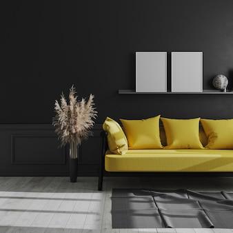 Leeres vertikales plakatrahmenmodell auf regal im dunklen modernen innenraum, wohnzimmerinnenraum mit schwarzer wand und gelbem sofa, dunkles wohnzimmermodell, skandinavischer stil, 3d-render