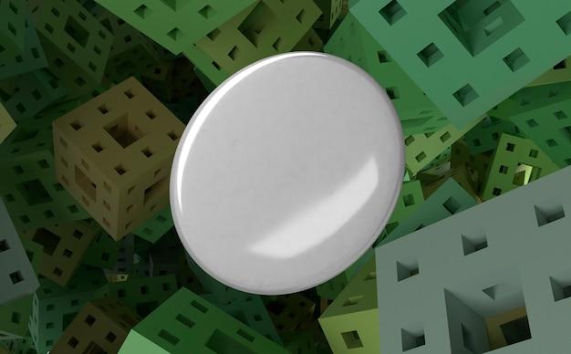 Leeres weißes abzeichen auf abstraktem quadratischem hintergrund