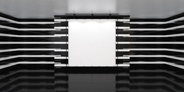 Leeres weißes banner in der mitte der leeren beleuchteten halle mit led-lampen an den wänden und glänzendem boden