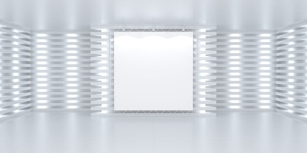 Leeres weißes bannerplakat an der wand in hell beleuchtetem 3d-bühnenhintergrund