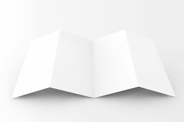 Leeres weißes gefaltetes papier auf weißem hintergrund