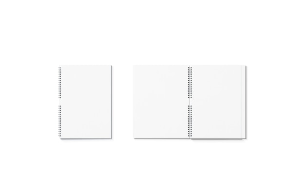Leeres weißes geöffnetes und geschlossenes notebook-mockup isoliert leeres blocknote-mock-up für schule oder büro