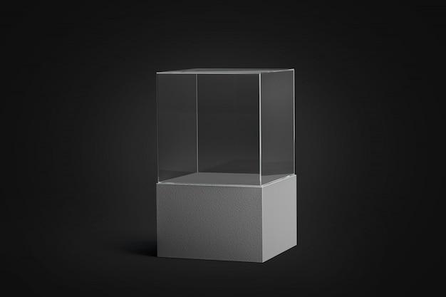 Leeres weißes glasvitrinenmodell
