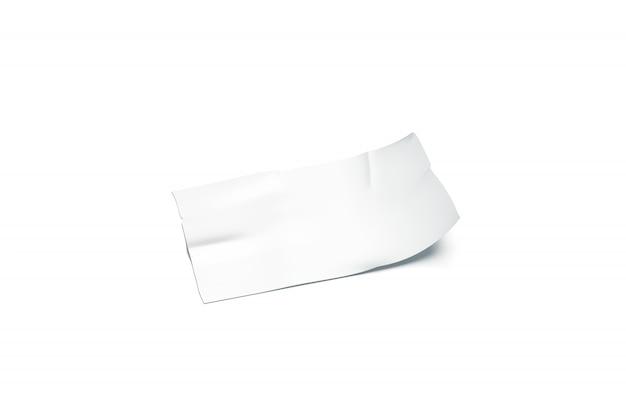 Leeres weißes klebebandstück klebte gebogene ecke nach oben
