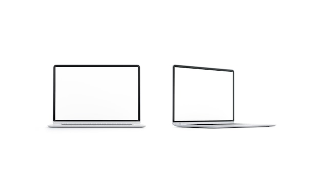 Leeres weißes laptop-bildschirm-mockup-set vorder- und seitenansicht leeres digitales display-mock-up isoliert