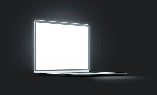 Leeres, weißes, leuchtendes laptop-bildschirmmodell, isoliert in der dunkelheit leeres, beleuchtetes computermodell