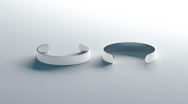 Leeres weißes manschettenarmband, seitenansicht von vorne und hinten