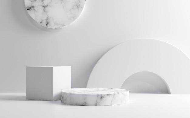 Leeres weißes marmorpodest auf weißem farbhintergrund