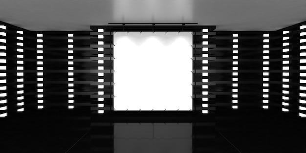 Leeres weißes plakatbanner in der mitte der leeren beleuchteten halle mit glänzendem boden