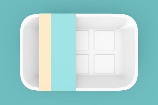 Leeres weißes plastikbehälter-tablett-paket mit leerem etikett für ihr design auf grünem hintergrund. 3d-rendering