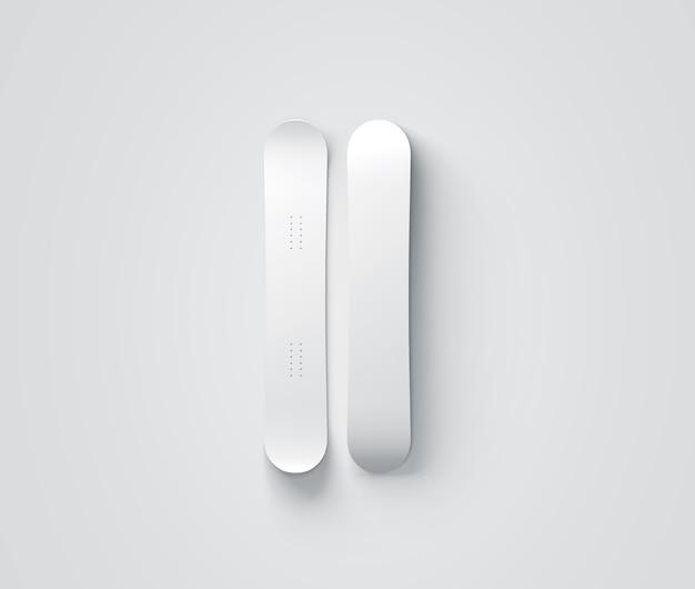 Leeres weißes snowboarddesign lokalisierte vorder- und rückansicht