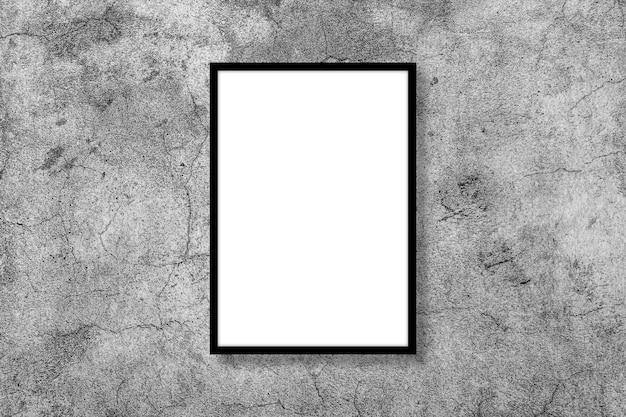 Leeres weißes vertikales rechteckplakatmodell im schwarzen rahmen auf grau