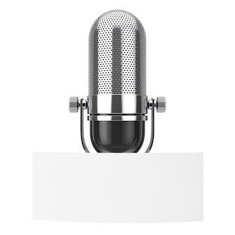 Leeres whitepaper-tag mit freiem speicherplatz für jugenddesign vor vintage-mikrofon auf weißem hintergrund. 3d-rendering
