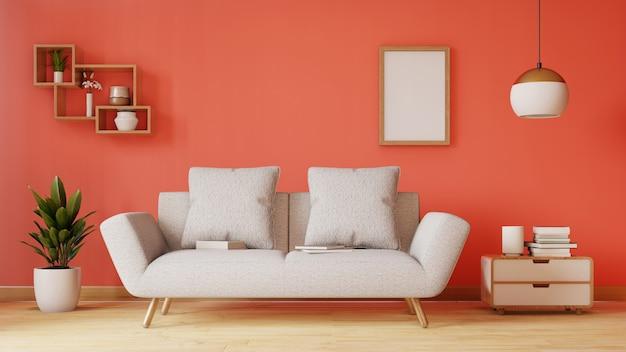 Leeres wohnzimmer mit blauem gewebesofa, lampe und anlagen. 3d-rendering