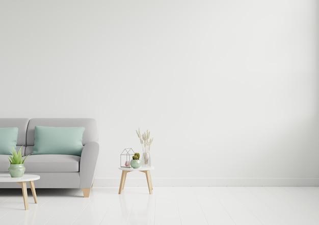 Leeres wohnzimmer mit braunem sofa / zierglas und tisch auf leerer weißer wand