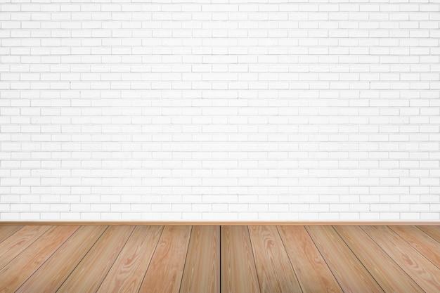 Leeres wohnzimmer mit bretterboden und weiß malte backsteinmauerhintergrund.