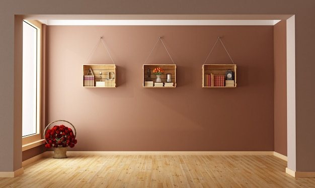 Leeres wohnzimmer mit holzkisten als bücherregal