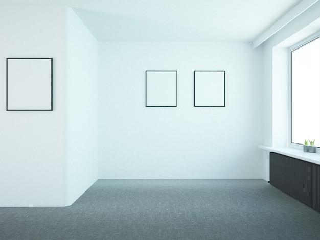 Leeres wohnzimmer mit schwarzer heizung und plakaten