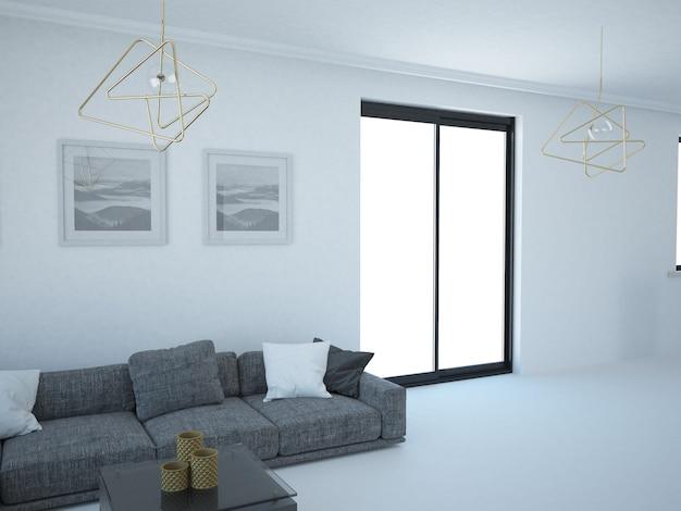Leeres wohnzimmer mit weißem wandsofa und fenster