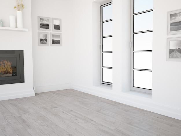 Leeres wohnzimmer mit zwei fenstern, blauer wand und hellem holzboden mit kamin