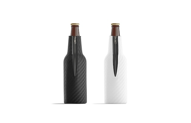 Leeres zusammenklappbares bierflaschen-koozie-set schwarz und weiß, isoliert, 3d-rendering.