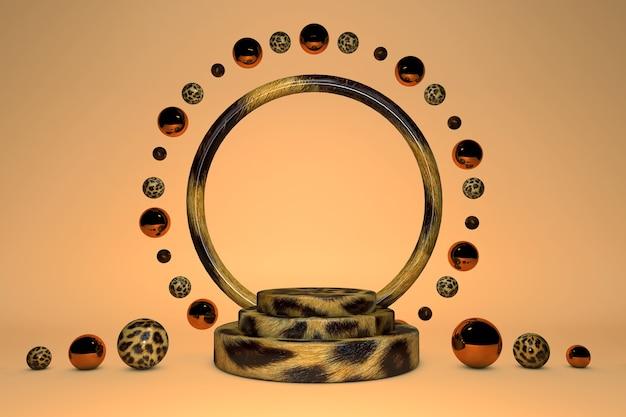 Leeres zylinderpodest mit leoparden-tierdruck und rundem kreis auf orangefarbenem pastellhintergrund. abstraktes minimales studio 3d geometrisches formobjekt