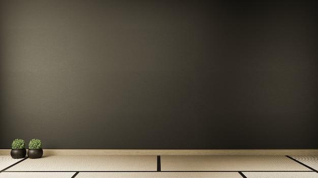 Leerraum schwarz auf holzboden innenarchitektur.3d rendering