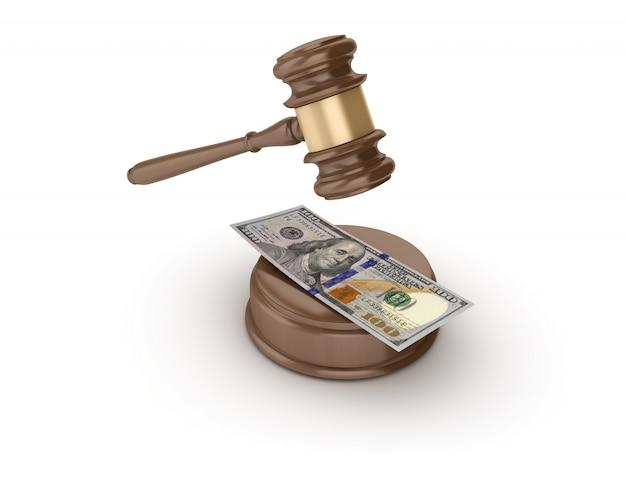 Legal gavel mit einhundert dollar schein