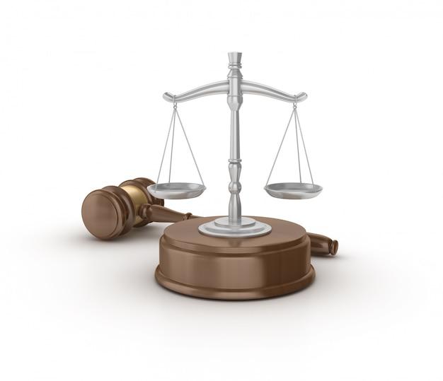 Legal gavel mit gewichtsskala