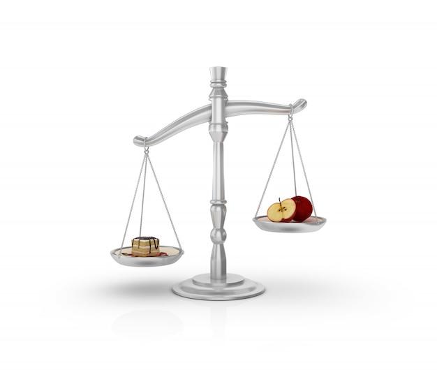 Legal weight scale mit kuchen und obst