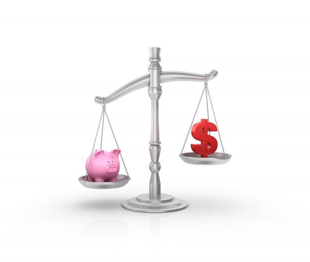Legal weight scale mit sparschwein und dollarzeichen