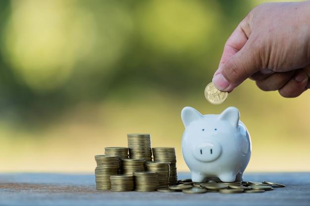 Legen sie münzgeld in sparschwein-ideen, um geld zu sparen