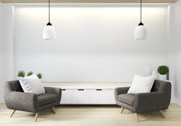 Lehnsessel im japanischen wohnzimmer mit leerer wand