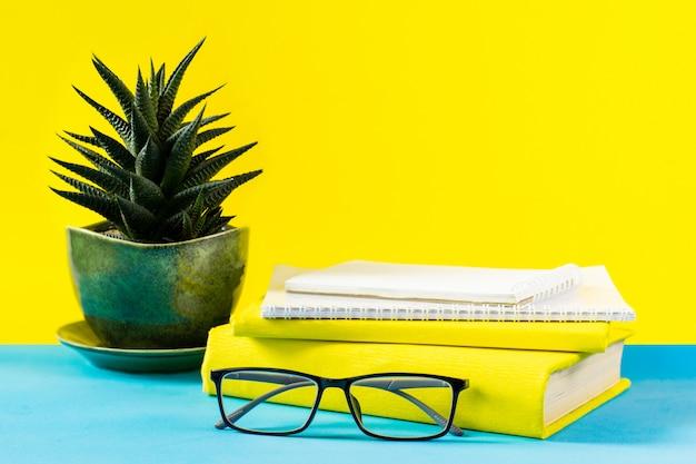 Lehrbücher für brillen; holzbuchstaben und ein sukkulententopf auf dem tisch; auf dem hintergrund eines blauen papiers. das konzept des lehrertages. kopieren sie platz.