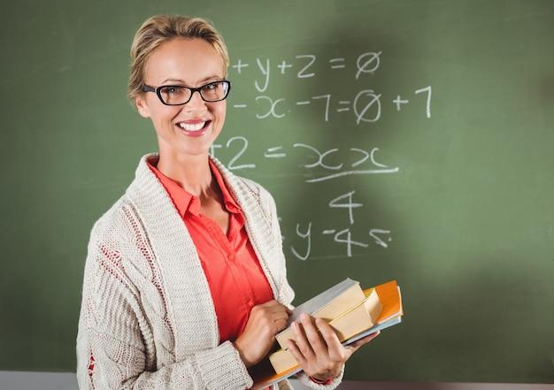 Lehrer hält bücher